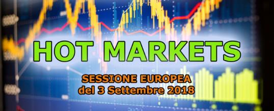 Hotmarkets sessione europea del 3-09-2018, analisi dei mercati in tempo reale